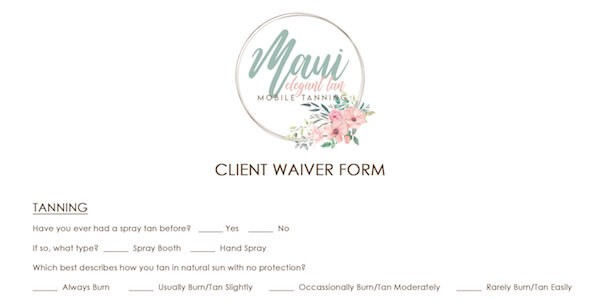 Mobile Spray Tan Client Waiver